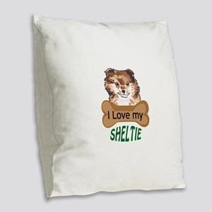 Love My Sheltie Burlap Throw Pillow