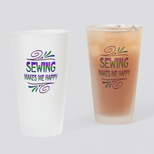 Sewing Makes Me Happy Drinking Glass