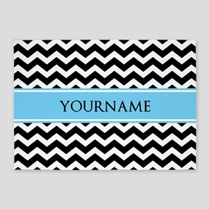 Black White Chevron Blue Monogram 5'x7'Area Rug