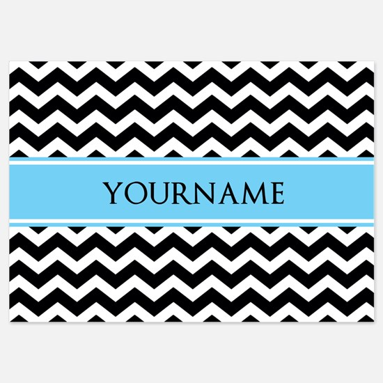 Black White Chevron Blue Monogram 5x7 Flat Cards