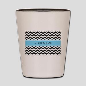 Black White Chevron Blue Monogram Shot Glass