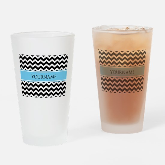 Black White Chevron Blue Monogram Drinking Glass