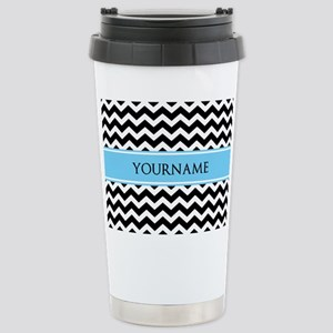 Black White Chevron Blu Stainless Steel Travel Mug