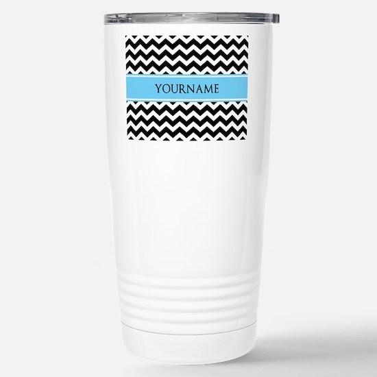 Black White Chevron Blu Stainless Steel Travel Mug