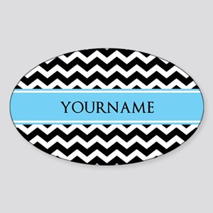 Black White Chevron Blue Monogram Sticker (Oval)