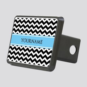 Black White Chevron Blue M Rectangular Hitch Cover
