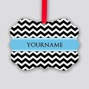 Black White Chevron Blue Monogram Picture Ornament