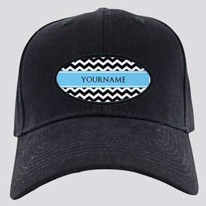 Black White Chevron Blue Monogram Black Cap
