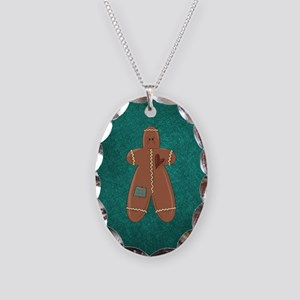 CHRISTMAS CRAZY QUILT Necklace Oval Charm