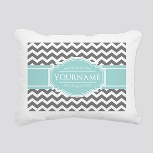 Grey & White Zigzag Cust Rectangular Canvas Pillow