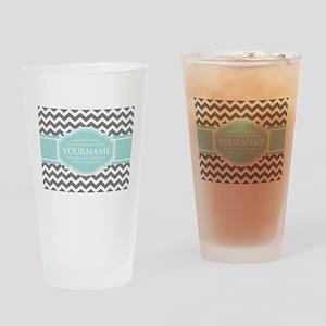 Grey & White Zigzag Custom Monogram Drinking Glass