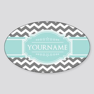 Grey & White Zigzag Custom Monogram Sticker (Oval)