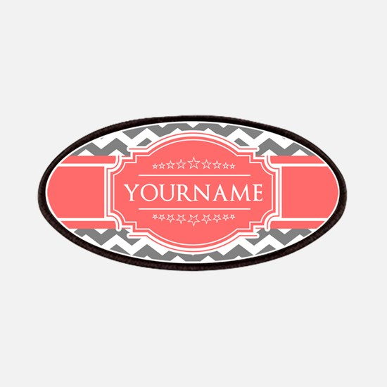 Gray Chevron and Coral Custom Monogram Patch