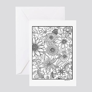 Adult coloring greeting cards cafepress flower field coloring design greeting cards m4hsunfo
