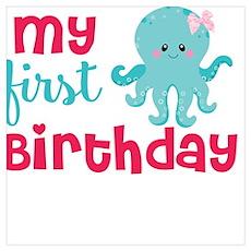 1st birthday octopus Poster