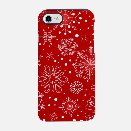 Snowflakes on Red Background iPhone 8/7 Tough Case