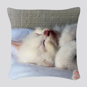 Sleepy Kitten Woven Throw Pillow