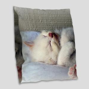 Sleepy Kitten Burlap Throw Pillow