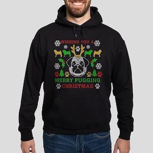 Merry Pugging Christmas Pug Original Hoodie (dark)