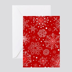 Snowflakes on Red Background Greeting Cards