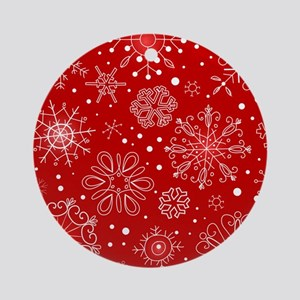 Snowflakes on Red Background Round Ornament