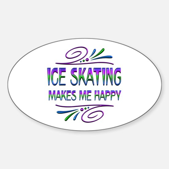 Ice Skating Makes Me Happy Sticker (Oval)