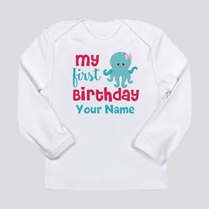 1st Birthday Octopus Personalized Long Sleeve T-Sh
