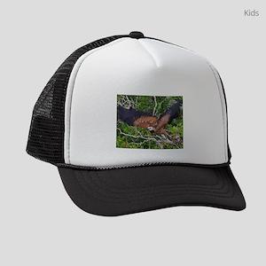 black collared hawk taking flight Kids Trucker hat