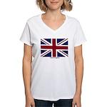 Union Jack Flag Women's V-Neck T-Shirt