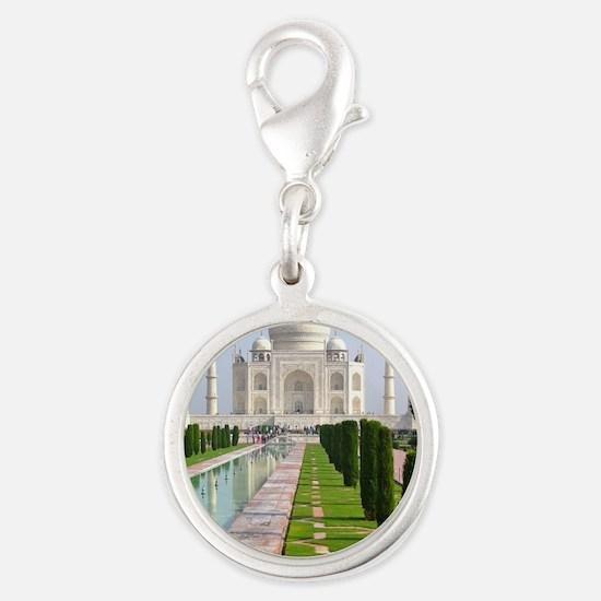 Taj Mahal Silver Round Charm