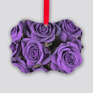 Purple Roses Picture Ornament