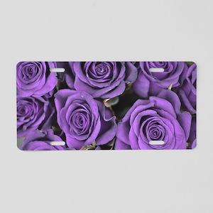 Purple Roses Aluminum License Plate