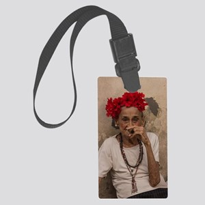 Old lady smoking cuban cigar in Large Luggage Tag