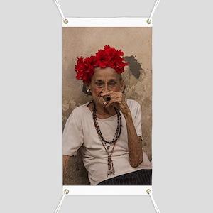 Old lady smoking cuban cigar in Havana Banner