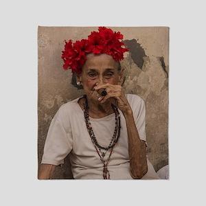 Old lady smoking cuban cigar in Hava Throw Blanket