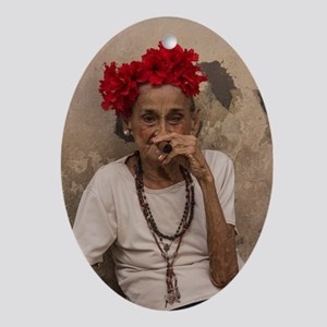 Old lady smoking cuban cigar in Hava Oval Ornament