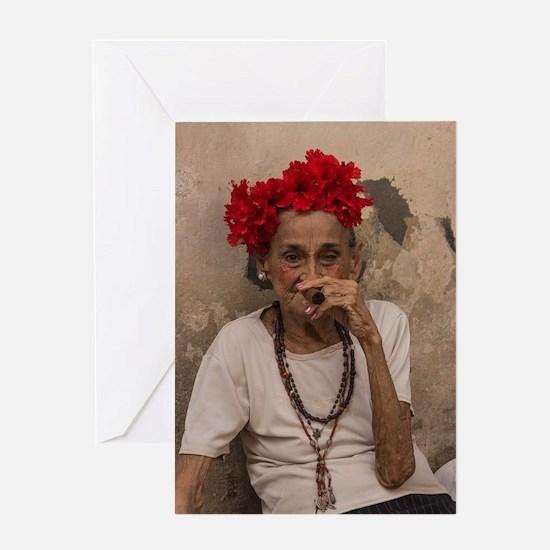 Old lady smoking cuban cigar in Hava Greeting Card