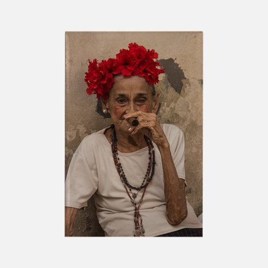 Old lady smoking cuban cigar in H Rectangle Magnet