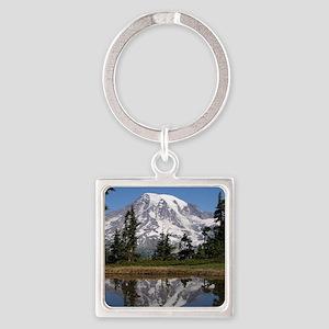 Mount Rainier Square Keychain