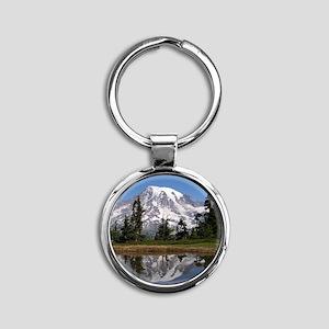 Mount Rainier Round Keychain
