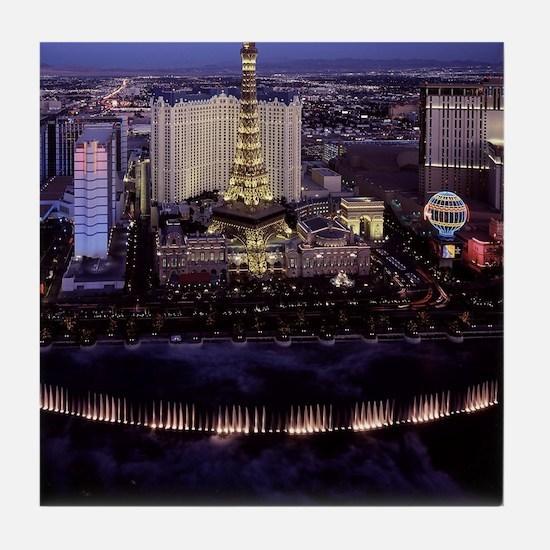 Las Vegas by Night Tile Coaster