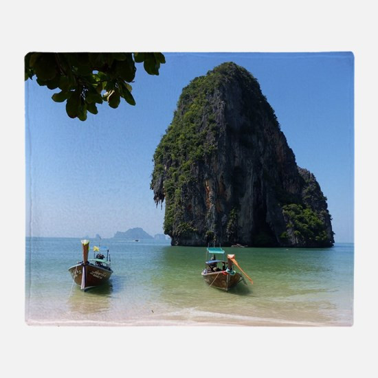 Krabi beach Throw Blanket
