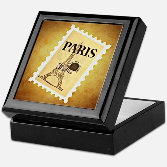 Eiffel tower postage stamp Keepsake Box