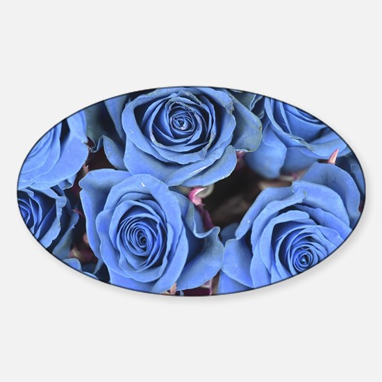 Blue Roses Sticker (Oval)