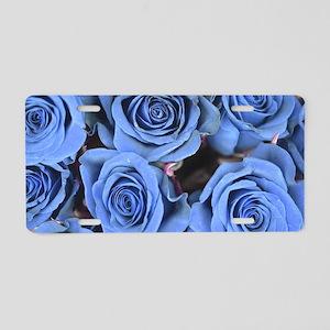 Blue Roses Aluminum License Plate