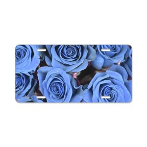 blue rose aluminum license plates cafepress