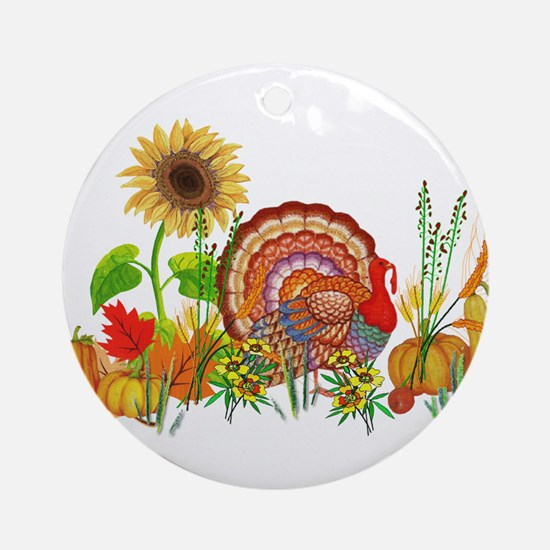 Autumn Thanksgiving Art Round Ornament
