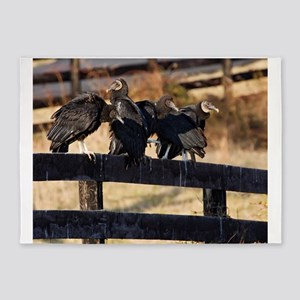 Black Vultures 5'x7'Area Rug