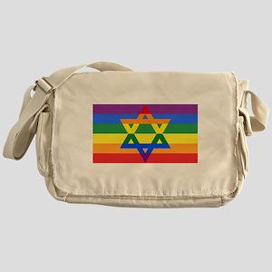 Rainbow Star of David Messenger Bag