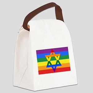 Rainbow Star of David Canvas Lunch Bag